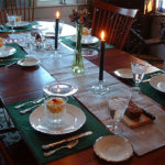 "alt=""table setting in green in dining room at hallauer house b & b"""