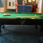 "alt=""pool table in rec room that converts to pool table"