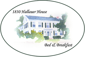 alt=water color painting of 1830 hallauer house b & b