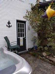 Hot tub location by door
