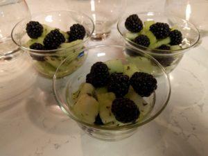 Mint melon with blackberries