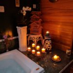 "alt=""Asian spa with whirlpool tub and sauna"""