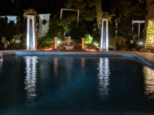 "alt:""pool and garden at night"
